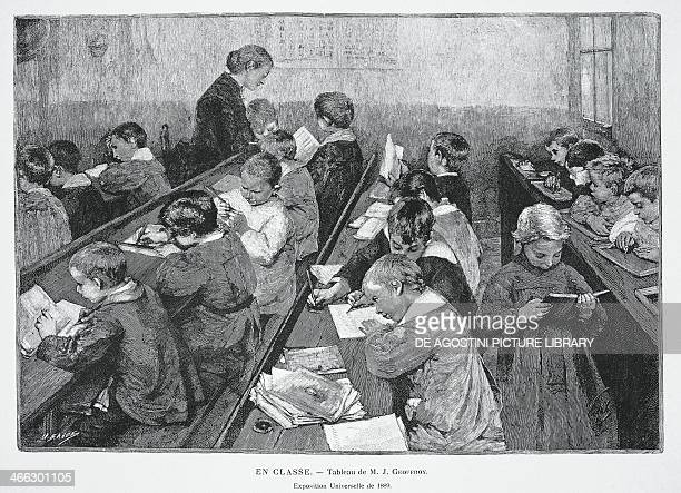In class Exposition Universelle of 1889 engraving from a painting by Jean Geoffroy France 19th century