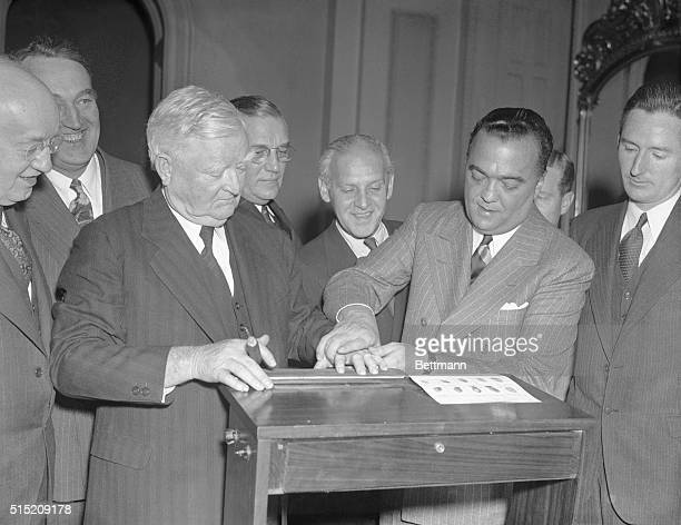 In compliance with a desire by President Franklin D Roosevelt that members of the White House circle have their fingerprints taken VicePresident John...