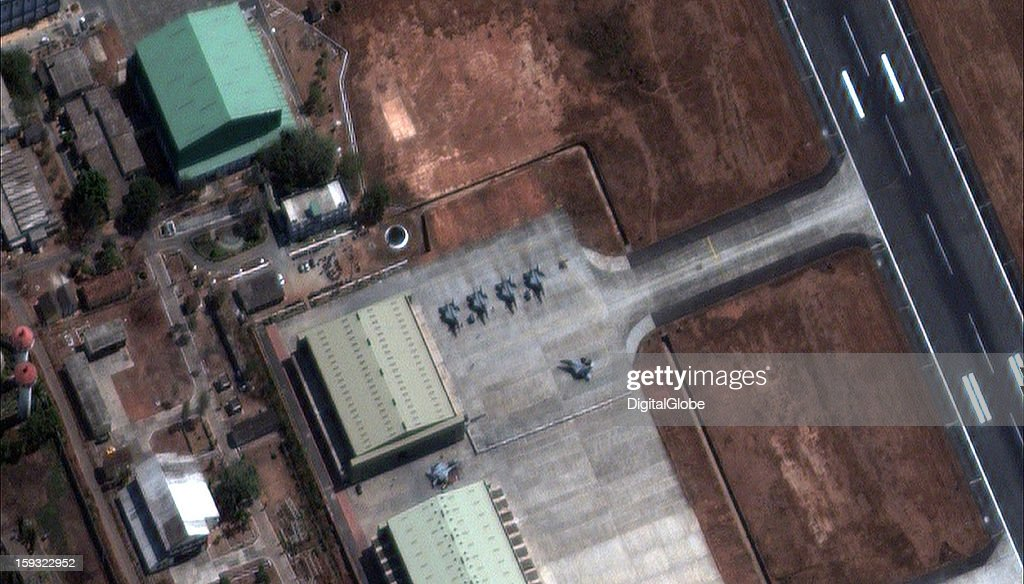 "In December, Russia delivered four MiG-29KUB carrier-based fighters to the Indian government, fulfilling a USD $1.5 billion contract signed in 2010. The new fighters, as seen on this satellite image from January 7, 2012, will join Indian Naval Air Squadron (INAS) 303, nicknamed the ""Black Panthers,"" based at Indian Naval Station (INS) Hansa in the state of Goa."