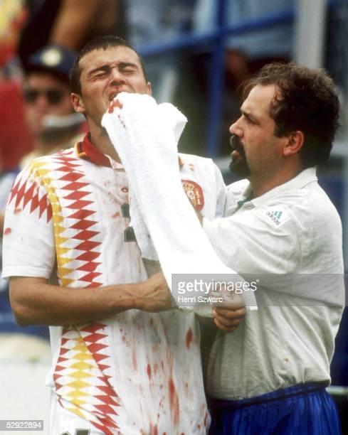 WM 1994 in den USA Boston Viertelfinale ITALIEN SPANIEN 21 VERLETZUNG Luis ENRIQUE/ESP