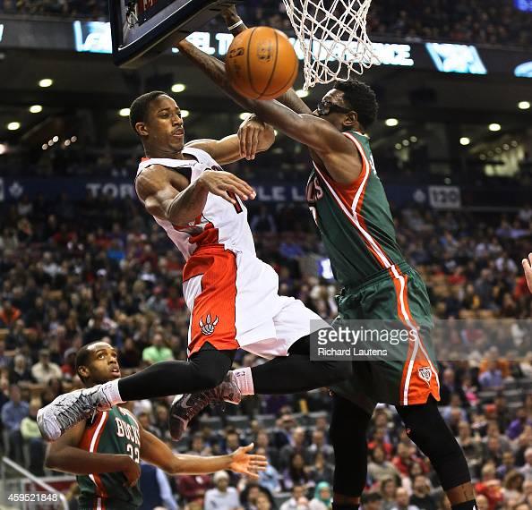 In first half action Toronto Raptors guard DeMar DeRozan makes a pass around Milwaukee Bucks center Larry Sanders The Toronto Raptors played the...