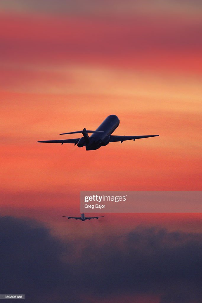 In flight : Stock Photo