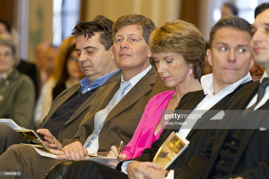 In focus commentator Karl Hohenlohe (2nd,L) attends the press conference ahead of Vienna Opera Ball on January 15, 2013 in Vienna, Austria.