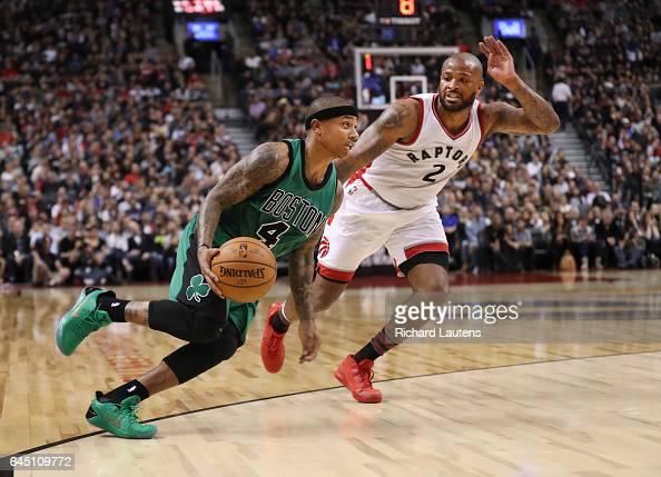 TORONTO ON FEBRUARY 24 In fourth quarter action Toronto Raptors forward PJ Tucker tries to keep up with Boston Celtics guard Isaiah Thomas The...