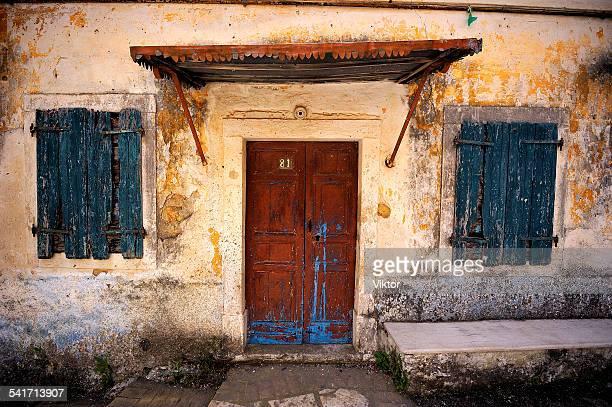 In front of the doors
