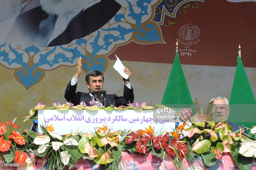 In front of the pictures of Ayatollah Khomeini and Ayatollah Khamenei Iranian president Mahmoud Ahmadinejad addreses the crowd with a controversial...
