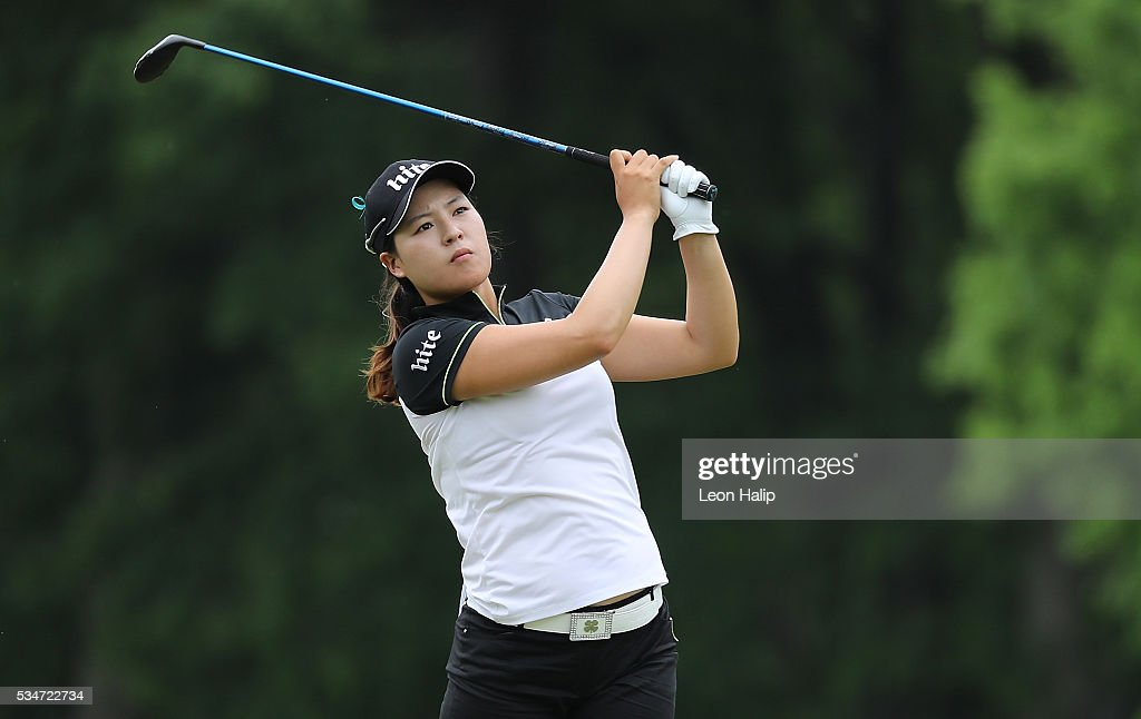 In Gee Chun from South Korea hits her approach shot to the sixth green during the second round of the LPGA Volvik Championship on May 27, 2016 at Travis Pointe Country Club Ann Arbor, Michigan.