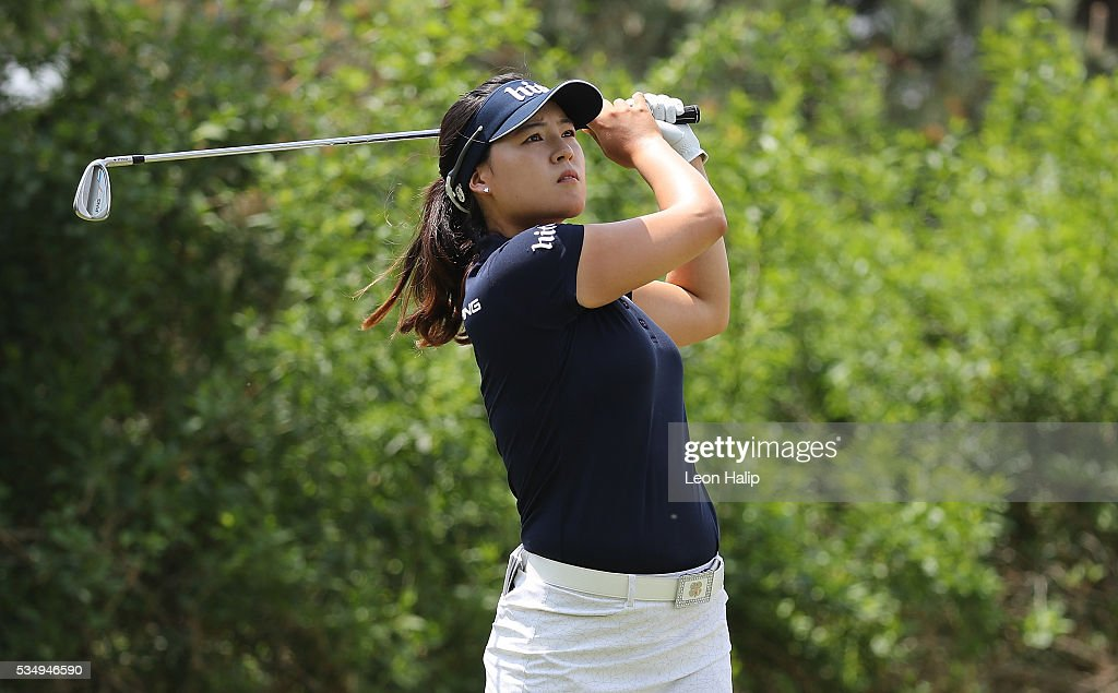 In Gee Chun from South Korea hits her tee shot on the third hole during the third round of the LPGA Volvik Championship on May 28, 2016 at Travis Pointe Country Club in Ann Arbor, Michigan.