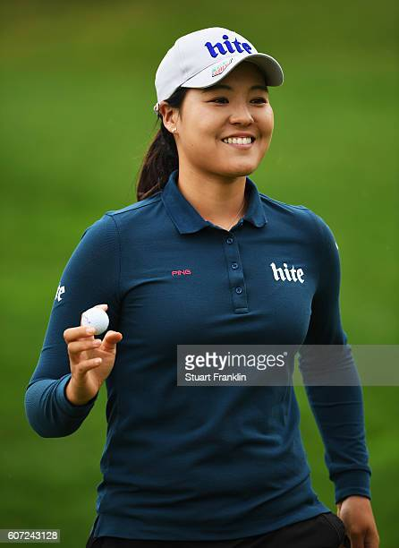 In Gee Chun of Korea celebrates during the third round of The Evian Championship on September 17 2016 in EvianlesBains France