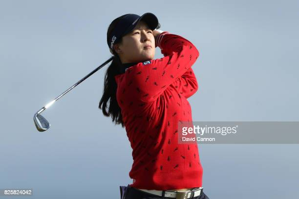 In Gee Chun of Korea hits her second shot on the 4th hole during the first round of the Ricoh Women's British Open at Kingsbarns Golf Links on August...