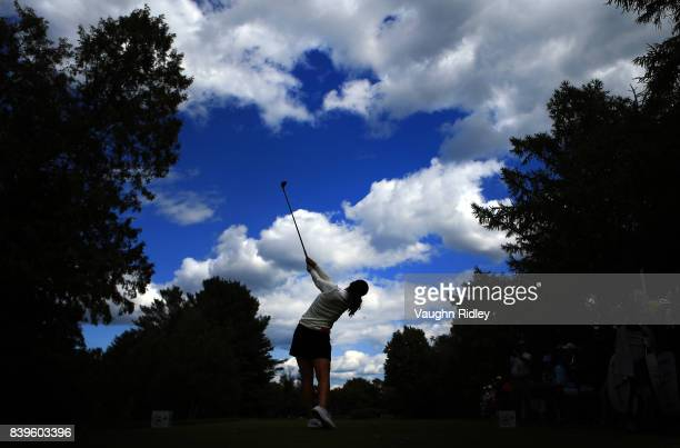 In Gee Chun of Korea hits her tee shot on the 5th hole during round three of the Canadian Pacific Women's Open at the Ottawa Hunt Golf Club on August...