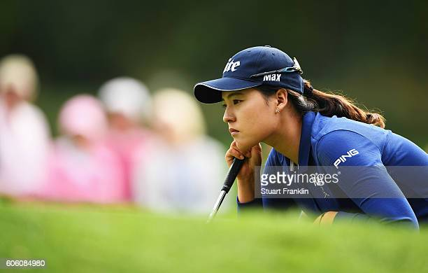In Gee Chun of Korea lines up a putt during the second round of The Evian Championship on September 16 2016 in EvianlesBains France