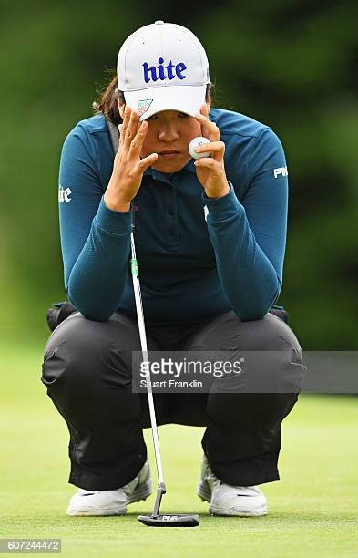 In Gee Chun of Korea lines up a putt during the third round of The Evian Championship on September 17 2016 in EvianlesBains France