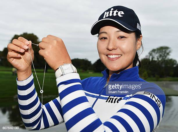 In Gee Chun of Korea with a Tiffany neckless after winning The Evian Championship on September 18 2016 in EvianlesBains France