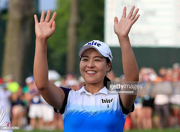 In Gee Chun of South Korea acknowledges the crowd after winning the US Women's Open at Lancaster Country Club on July 12 2015 in Lancaster...