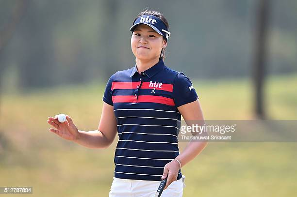 In Gee Chun of South Korea acknowledges the fan during day four of the 2016 Honda LPGA Thailand at Siam Country Club on February 28 2016 in Chon Buri...