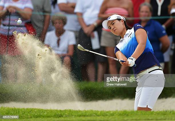 In Gee Chun of South Korea hits from the bunker on the tenth hole during the final round of the US Women's Open at Lancaster Country Club on July 12...