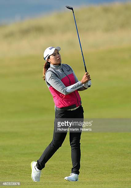 In Gee Chun of South Korea hits her 2nd shot on the 5th hole during the First Round of the Ricoh Women's British Open at Turnberry Golf Club on July...