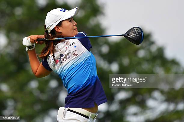 In Gee Chun of South Korea hits her tee shot on the 14th hole during the final round of the US Women's Open at Lancaster Country Club on July 12 2015...