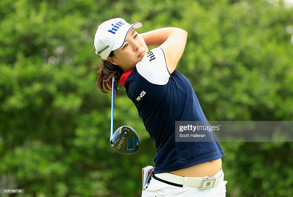 In Gee Chun of South Korea hits her tee shot on the second hole during the second round of the Volunteers of America Texas Shootout at Las Colinas Country Club on April 29, 2016 in Irving, Texas.