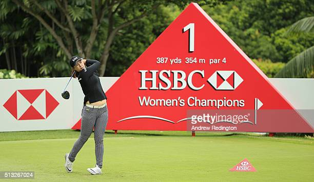 In Gee Chun of South Korea in action during the Pro Am event prior to the start of the HSBC Women's Champions at Sentosa Golf Club on March 2 2016 in...