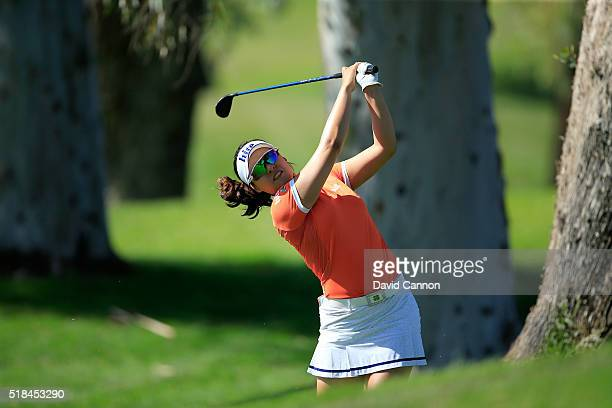 In Gee Chun of South Korea plays her second shot at the par 5 second hole during the first round of the 2016 ANA Inspiration at Mission Hills Country...