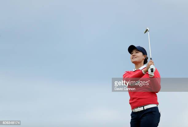 In Gee Chun of South Korea plays her second shot on the par 4 fourth hole during the second round of the Ricoh Women's British Open at Kingsbarns...