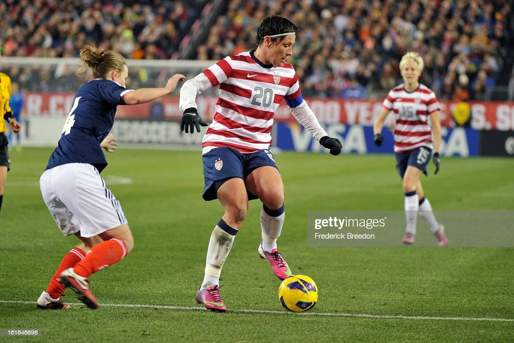 In her 200th game as a member of the U.S. Women's National Team, <a gi-track='captionPersonalityLinkClicked' href=/galleries/search?phrase=Abby+Wambach&family=editorial&specificpeople=162757 ng-click='$event.stopPropagation()'>Abby Wambach</a> #20 plays against the Scotland Women's National Team at LP Field on February 13, 2013 in Nashville, Tennessee.