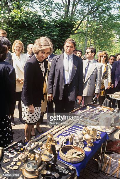 In her official trip to Bulgaria the Spanish Queen Sofia visit a bazaar of handicrafts 23rd May 1993 Sofia Bulgaria