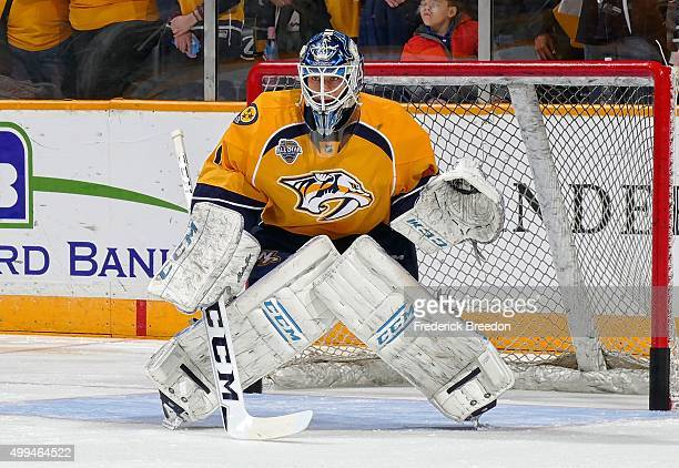 In his first career NHL game goalie Juuse Saros of the Nashville Predators skates against the Buffalo Sabres during the first period at Bridgestone...