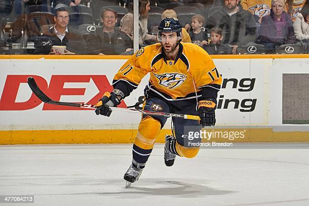 In his first game as a member of the Nashville Predators Patrick Eaves skates against the St Louis Blues at Bridgestone Arena on March 6 2014 in...