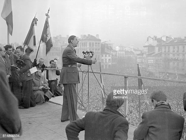 In his first public speech since his victory in the October Municipal Elections General Charles De Gaulle tells his audience that the present...