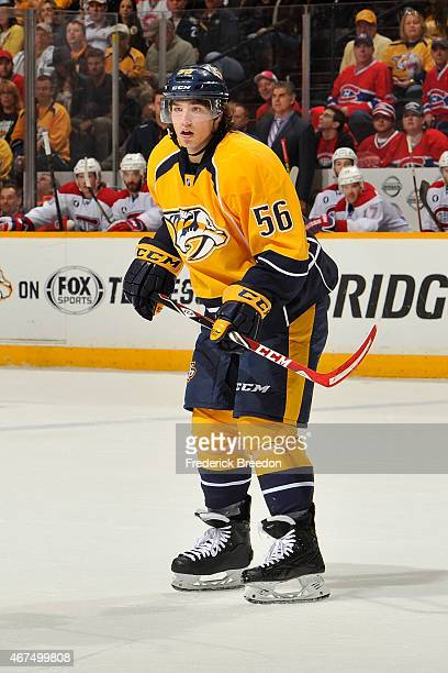 In his NHL debut Kevin Fiala of the Nashville Predators skates against the Montreal Canadiens at Bridgestone Arena on March 24 2015 in Nashville...