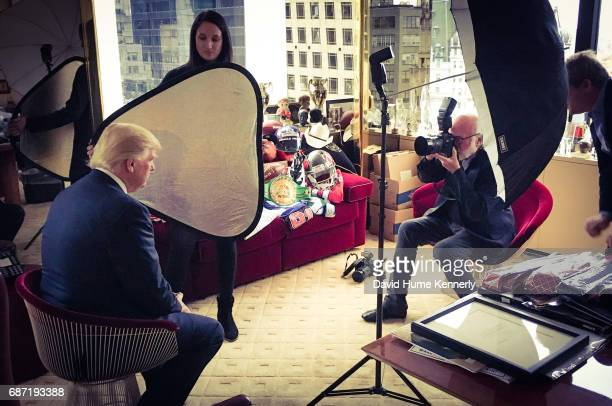 In his office in Trump Tower American real estate developer and Presidentelect Donald Trump poses for photographer David Hume Kennerly New York New...
