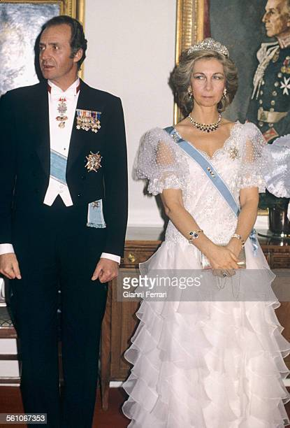 In his official trip to Canada the Spanish Kings Juan Carlos of Borbon and Sofia of Greece before a gala dinner Ottawa Canada