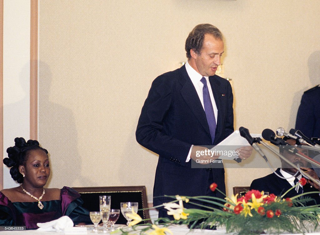 In his official trip to Congo, the Spanish King Juan Carlos of Borbon in a speech at the gala dinner hosted by the President <a gi-track='captionPersonalityLinkClicked' href=/galleries/search?phrase=Denis+Sassou+Nguesso&family=editorial&specificpeople=4126626 ng-click='$event.stopPropagation()'>Denis Sassou Nguesso</a>, 1983, Brazzaville, Congo. (Photo by Gianni Ferrari/Cover/Getty Images).