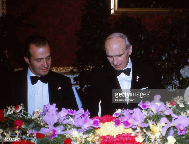 In his official visit to Austria the Spanish King Juan Carlos with Austrian President Rudolf Kirchschlager at a gala dinner 14th February 1978 Vienna...