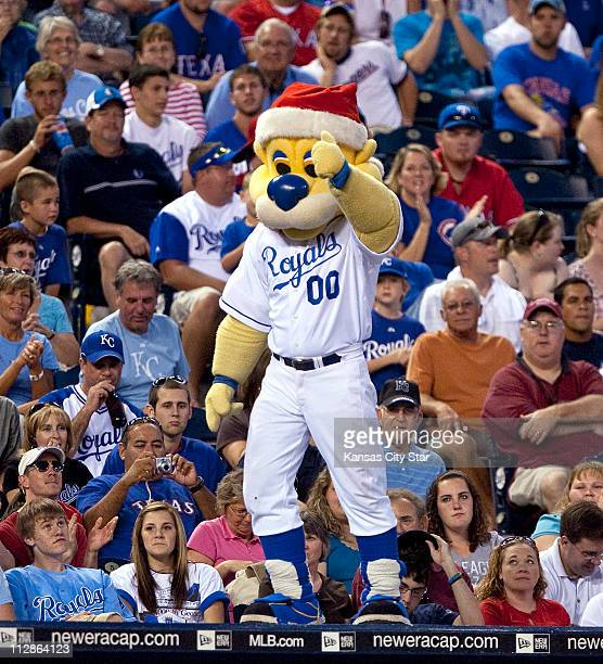 In honor of Christmas in July Kansas City Royals mascot Sluggerrr wore a Santa hat as he cheared on the Royals during the ninth inning against the...