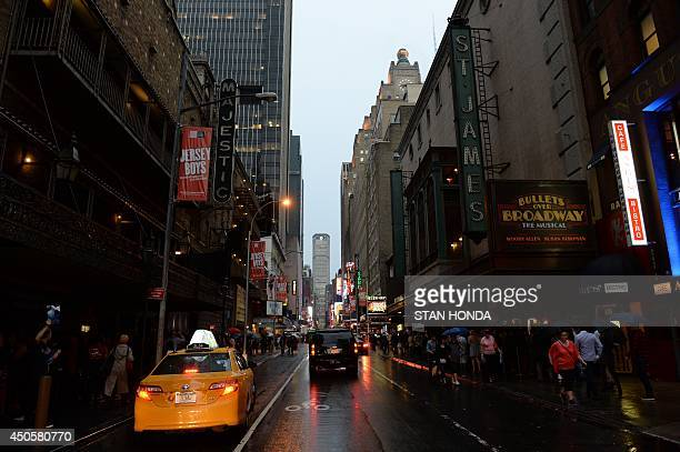 In honor of US actress Ruby Dee the marquees of Broadway theatres seen here on West 44th Street are dimmed in her memory for one minute June 13 2014...