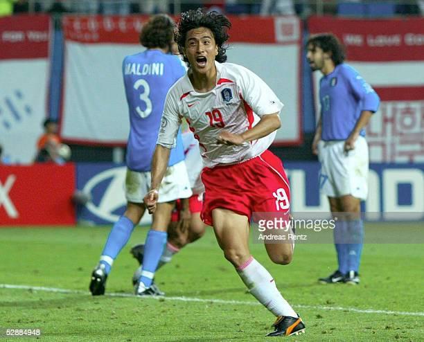 WM 2002 in JAPAN und KOREA Daejeon Match 56/ACHTELFINALE/KOREA ITALIEN 21 nV JUBEL nach TOR zum 21 jung Hwan AHN/KOR