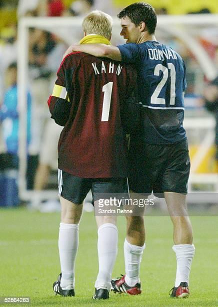 WM 2002 in JAPAN und KOREA Ulsan Match 58/VIERTELFINALE/DEUTSCHLAND USA SCHLUSS JUBEL Oliver KAHN und Michael BALLACK/GER