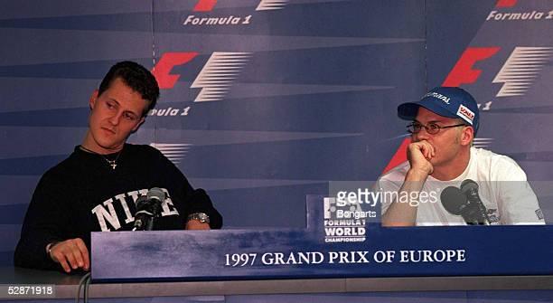 EUROPA 1997 in Jerez 251097 Pressekonferenz mit Michael SCHUMACHER und Jaques VILLENEUVE