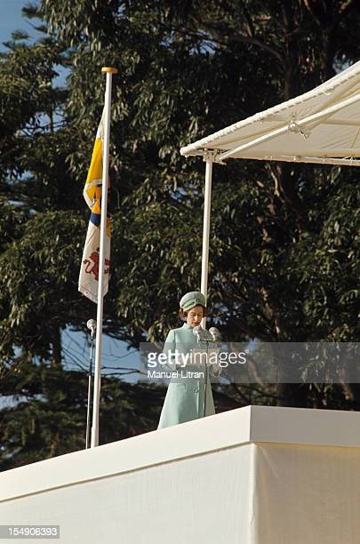 In July 1970 Speech of Queen ELIZABETH II of Great Britain during his trip to Australia for the commemoration of the bicentennial of the expedition...
