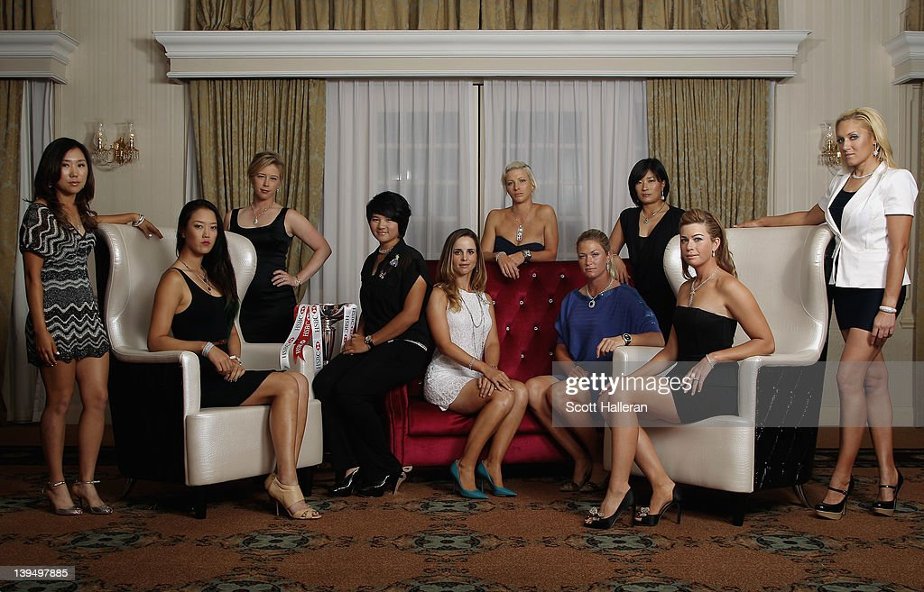 In Kyung Kim of Korea, <a gi-track='captionPersonalityLinkClicked' href=/galleries/search?phrase=Michelle+Wie&family=editorial&specificpeople=201982 ng-click='$event.stopPropagation()'>Michelle Wie</a> of the USA, <a gi-track='captionPersonalityLinkClicked' href=/galleries/search?phrase=Morgan+Pressel&family=editorial&specificpeople=213164 ng-click='$event.stopPropagation()'>Morgan Pressel</a> of the USA, <a gi-track='captionPersonalityLinkClicked' href=/galleries/search?phrase=Yani+Tseng&family=editorial&specificpeople=4682916 ng-click='$event.stopPropagation()'>Yani Tseng</a> of Taiwan, Beatriz Recari of Spain, <a gi-track='captionPersonalityLinkClicked' href=/galleries/search?phrase=Melissa+Reid&family=editorial&specificpeople=807482 ng-click='$event.stopPropagation()'>Melissa Reid</a> of England, <a gi-track='captionPersonalityLinkClicked' href=/galleries/search?phrase=Suzann+Pettersen&family=editorial&specificpeople=218091 ng-click='$event.stopPropagation()'>Suzann Pettersen</a> of Norway, <a gi-track='captionPersonalityLinkClicked' href=/galleries/search?phrase=Se+Ri+Pak&family=editorial&specificpeople=204180 ng-click='$event.stopPropagation()'>Se Ri Pak</a> of Korea, <a gi-track='captionPersonalityLinkClicked' href=/galleries/search?phrase=Paula+Creamer&family=editorial&specificpeople=209411 ng-click='$event.stopPropagation()'>Paula Creamer</a> of the USA and <a gi-track='captionPersonalityLinkClicked' href=/galleries/search?phrase=Natalie+Gulbis&family=editorial&specificpeople=179451 ng-click='$event.stopPropagation()'>Natalie Gulbis</a> of the USA during a Welcome Reception Photo Call at the Raffles Hotel prior to the start of the HSBC Women's Champions at the Tanah Merah Country Club on February 22, 2012 in Singapore, Singapore