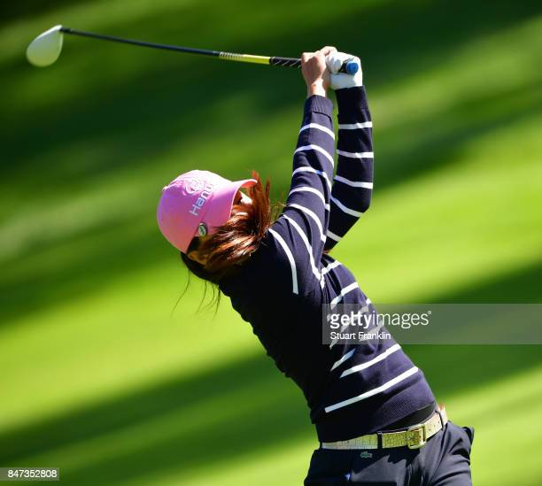 In Kyung Kim of South Korea plays a shot during the weather delayed first round of The Evina Championship at Evian Resort Golf Club on September 15...