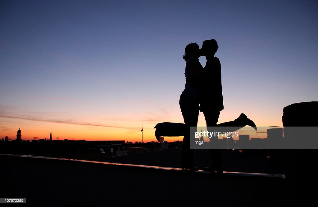 In love at sunset in Berlin : Stock Photo