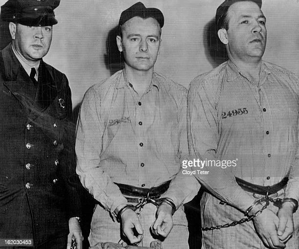 APR 14 1952 In Marshal's Office Guard Lewis Krenning of the Colorado state penitentiary keeps an eye on two convicts who testified before the federal...
