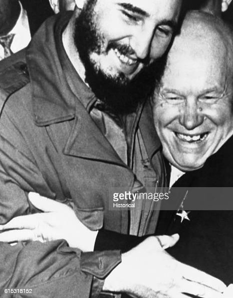 In New York City Russian Premier Nikita Khrushchev and Cuban Premier Fidel Castro meet for the first time at the 15th session of the General Assembly...