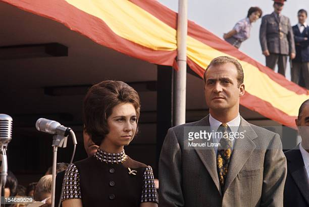 In November 1971 Princess Sophia and Prince Juan Carlos of Spain visit the city of Burgos in Castile and Leon