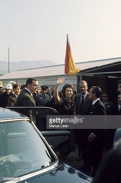 In November 1971 Princess Sophia and Prince Juan Carlos of Spain visit the city of Burgos in Castile and Leon here about to get into a car waving to...